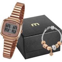 Kit Relógio Feminino Mondaine Digital 53717Lpmvre2K1 Com Acessório - Feminino-Rose Gold