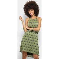 Vestido Mob Frente Única Estampado - Feminino-Verde