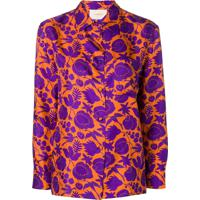 La Doublej Camisa Com Estampa Floral - Roxo