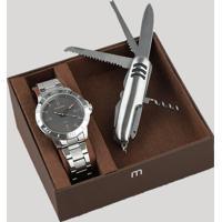 Kit De Relógio Analógico Mondaine Masculino + Canivete - 99252G0Mvne2K Prateado - Único