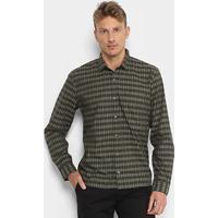... Camisa Xadrez Lacoste Listras Bolso Regular Fit Masculina - Masculino -Verde b9e9d02b2b