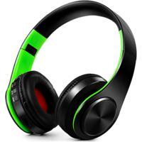 Fone De Ouvido Bluetooth Dobrável - Preto E Verde