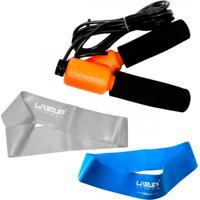 Kit Mini Band Com Forte + Extra Forte + Corda D Epular Com Contador Liveup - Unissex