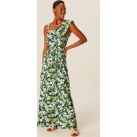 Vestido Verde Longo Tropical Em Viscose