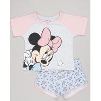 Pijama Infantil Minnie Raglan Manga Curta Cinza Mescla Claro