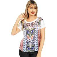 Blusa 101 Resort Wear Meia Manga Estampada Multicolorida