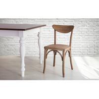 Cadeira De Madeira Tipo Restaurante Torneada Encosto E Assento Anatômico Nogueira Amélie - 44,5X45X81 Cm