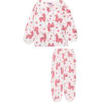 Pijama Tip Top Longo Menina Lhama Off-White