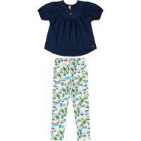 Conjunto Infantil Tropical Chic Azul