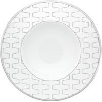 Prato Fundo Trasso Porcelana Unidade Branco E Prata Vista Alegre Atlantis