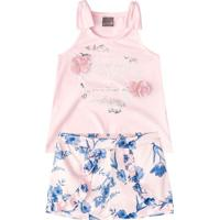 Conjunto De Blusa + Short Floral- Rosa Claro & Azul-Brandili