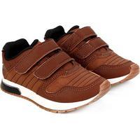 Tênis Jogging Infantil Klin Velcro Baby Walk - Masculino-Caramelo+Preto