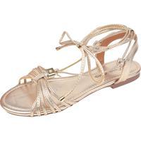 Sandália Rosa Chic Calçados Rasteirinha Dourada