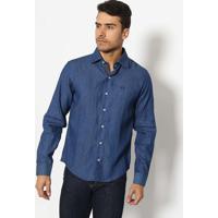 Camisa Jeans Slim Com Bordado- Azul Marinhojavali