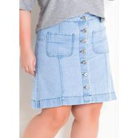 Saia Jeans Claro Com Botões Plus Size