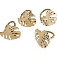 Conjunto 4 Anéis P/Guardanapos De Zamac Taiga – Linha Costela De Adão Dourado