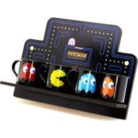 Conjunto De Canecas De Metal E Suporte Pac-Man 70 Ml