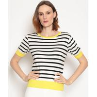 Blusa Listrada- Branca & Preta- Wool Linewool Line