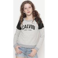 """Blusa Mescla """" Calvin""""®- Cinza & Preta- Calvin Kleincalvin Klein"""