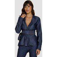 Blusa Jeans Zayon Detalhe Cinto Azul