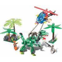 Blocos De Encaixe Xalingo Dino Saga Captura Rex Dinossauros - 286 Peças 6509 - Verde