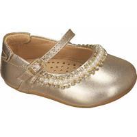 Sapato Boneca Com Pérolas & Strass - Dourado- Luluzluluzinha