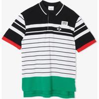 Burberry Kids Camisa Polo Com Listras E Patch De Logo - Preto