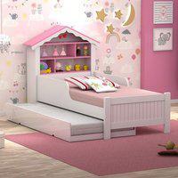 Bicama Casa Menina Rosa Solteiro Com Colchões Casah