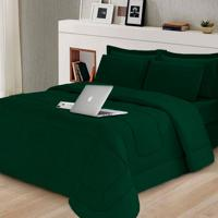 Kit 6 Pçs Afável Com Cobertor E Lençol Casal Queen Casa Dona Verde Militar