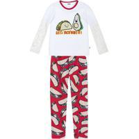 "Pijama ""Let'S Taco'Bout It""- Branco & Vermelho- Kidspuc"