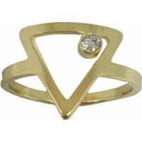 Anel Banho De Ouro Triangulo Ponto De Luz - Feminino-Dourado