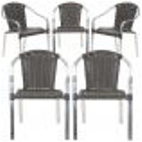 Cadeiras 5Un Para Area Varanda Fibra Sintetica Sala Cozinha Jardim Sacada Pinheiro - Tabaco
