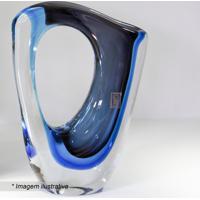 Vaso Assimétrico- Incolor & Azul- 24X21Cm- Cristcristais São Marcos