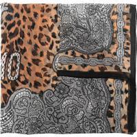Moschino Lenço De Seda E Renda Com Estampa De Leopardo - Neutro