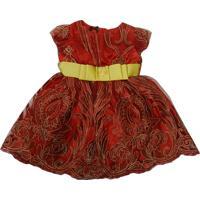 Vestido Gira Baby Kids Infantil Tule Com Bordado Vermelho