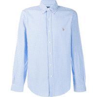 Ralph Lauren Camisa Xadrez Com Logo - Azul