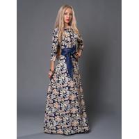 Vestido Longo Estampa Floral - Azul Xg