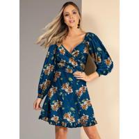 Vestido Floral Azul Com Babados Na Barra
