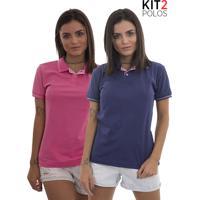 Kit 2 Polos Femininas Lagoon Tigs - Roxo E Rosa Pink-P