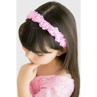 Headband Infantil Lua Dance Floral Delicado Com Pérolas Rosa