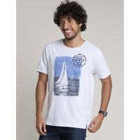 Camiseta Masculina Listrada Com Veleiro Manga Curta Gola Careca Branca