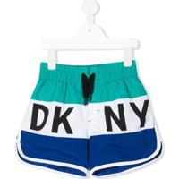 Dkny Kids Short De Natação Color Block - Azul