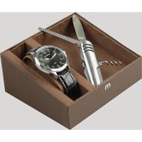 Kit De Relógio Analógico Mondaine Masculino + Canivete - 76659G0Mvnh2Kd Preto - Único