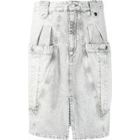Isabel Marant Kalosia Denim Midi Skirt - Cinza
