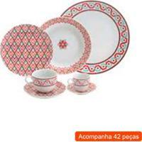 Aparelho De Jantar Com 42 Peças Flor Vermelho 32,8X32X39,8 Cm