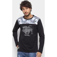 Camiseta Ecko Manga Longa Estampa Fumaça Masculina - Masculino-Preto