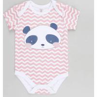Body Infantil Panda Estampado Chevron Manga Curta Decote Redondo Rosa