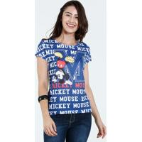 Blusa Juvenil Manga Curta Estampa Mickey Disney