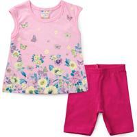 Conjunto Bebê Flores E Borboletas Rosa - Brandili