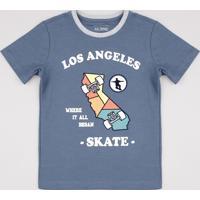 """Camiseta Infantil """"Los Angeles"""" Manga Curta Azul"""
